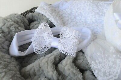 Lace baby bow new baby hair band for christening Handmade white wide headband UK