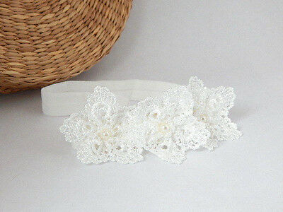 Christening baby headband, off white three flowers, baptism wedding, lace flower