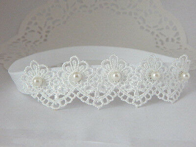 Lace headband, white baby hair band, baptism wedding, christening tiara handmade
