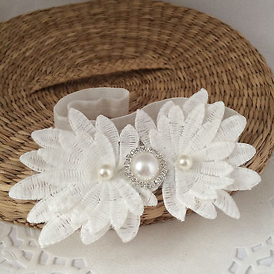 Christening flower headband, white hair band for baptism wedding with rhinestone