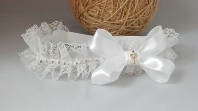 Ruffle Baby tiara hair band for Christening Baptism Handmade White headband UK