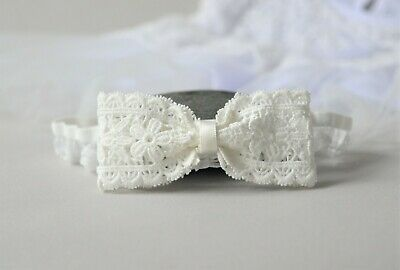 Baptism baby hair band, off white lace bow headband for christening UK Handmade