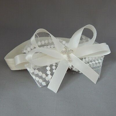 Lace baby bow hair band for christening Handmade ivory bow with cross headband