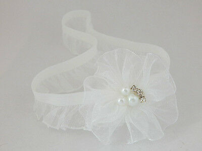 White baby hair band for christening organza girl flower with pearls UK handmade