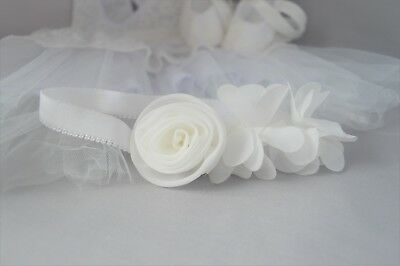 Baby Baptism Christening Wedding flower headband, white flower crown Handmade UK