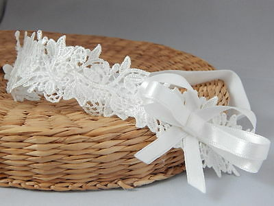 Lace headband ivory baby bow hair band, baptism christening wedding bow handmade