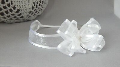 White baby bow headband hair band for christening baptism organza bow with cross