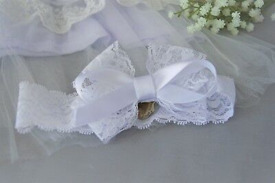 Lace baby bow hairband for christening Handmade white wide lace headband by FDH