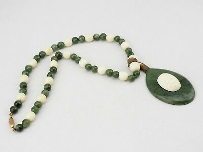 Vintage green white natural gemstone beads Egyptian style carved scarab necklace