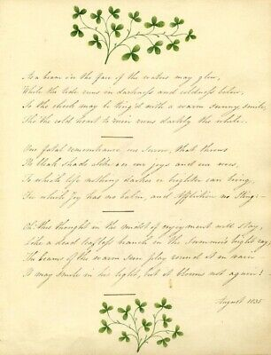 Copperplate Poetry 1835, Remembrance Poem by Thomas Moore with Clover Painting