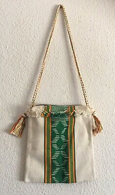 VTG Hand Woven Ethnic Bag Purse Fringe Southwest Hippie Boho Easter School