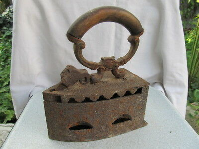 RARE ANTIQUE PRIMITIVE OLD CLOTHES IRON with COAL HAND FORGED WOODEN HANDLE 19th