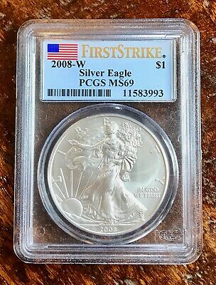 2008-W FIRST STRIKE $1 Silver American Eagle PCGS MS69 - BURNISHED