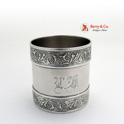 Coin Silver Napkin Ring Aesthetyc Style Scroll Borders 1870