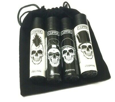 CLIPPER LIGHTERS BLACK WHITE PUNK SKULL GAS FLINT REFILLABLE LIGHTER with POUCH