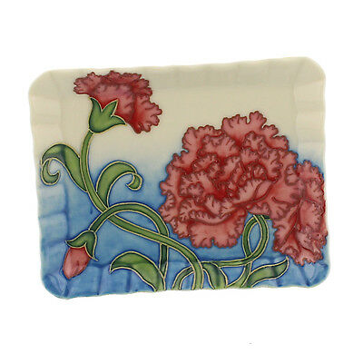 Red / Pink Carnation Design Old Tupton Ware Small Pin Tray Box.new & Boxed