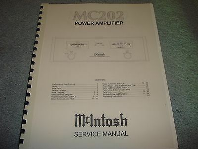McIntosh MC 202 Service Manual (Coil-bound with Protective Cover)