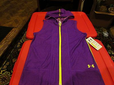 Under Armour Allseasongear Girls Loose Fit Purple Reversible Hooded Vest YL NWT