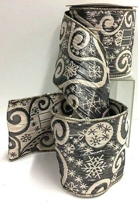 Silver Skull Skulls ove Gray /& Black Damask Background Wired Ribbon 2.5in x 10yd