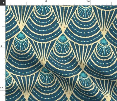 Art Deco 1920S Blue Gold Modern Decorative Fabric Printed by Spoonflower BTY