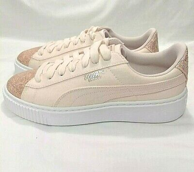 989435221a3e NEW Puma Women s Size 9 Pearl Rose Gold Basket Platform Canvas Casual  Sneakers