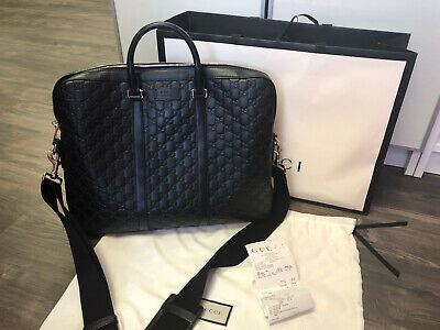 209c3bb97 AUTHENTIC Black Gucci Signature Leather Briefcase: Currently Sold Out in  Stores