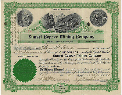 WASHINGTON 1901 Sunset Copper Mining Co Stock Certificate Everett