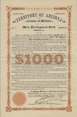 ARIZONA TERRITORY Horse Shoe Gold Mining & Milling Co Bond Stock Certificate #2
