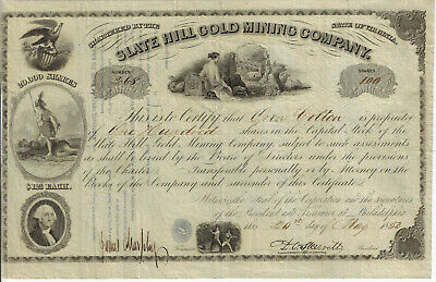 VIRGINIA 1853 Slate Hill Gold Mining Co Stock Certificate Louisa County