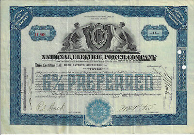 MAINE 1930 National Electric Power Company Stock Certificate