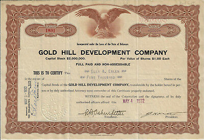 UTAH 1932 Gold Hill Development Company Stock Certificate ABN