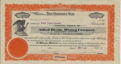 NEVADA 1919 Allied Divide Mining Company Stock Certifiicate
