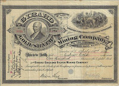 ARIZONA Territory 1882 Girard Gold & Silver Mining Co Stock Certificate Tombston