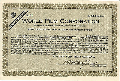 NEW JERSEY World Film Corp Scrip Stock Certificate Early Silent Films Fort Lee