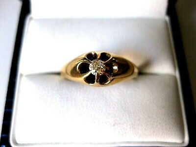 ANTIQUE VICTORIAN YELLOW-PINKISH GOLD RING with DIAMOND,late 19c.