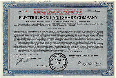 NEW YORK 1947 Electric Bond & Share Co Stock Certificate EBASCO General Electric
