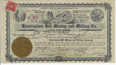 NEVADA 1915 Reservation Hill Mining & Milling Company Stock Certificate Carson