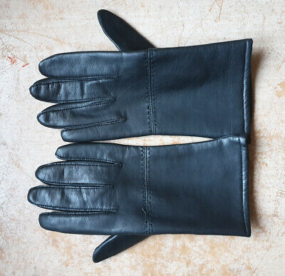 Ladies Black Leather Prova Gloves Size 7 1/2 Made in Britain