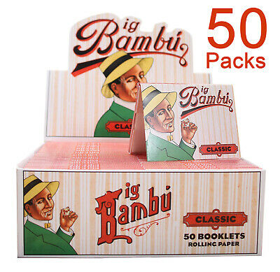 Big Bambu Classic 50 Booklet Packs Cigarette Rolling Papers Brand New & Sealed
