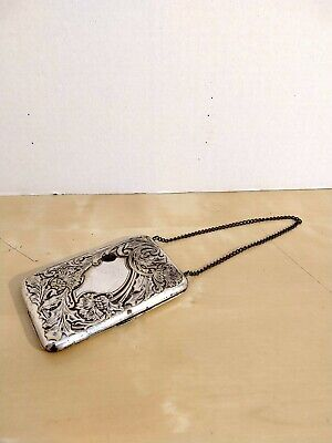 Vintage - Antique - Cigarette / Photo / Coin Case with Chain - Silver