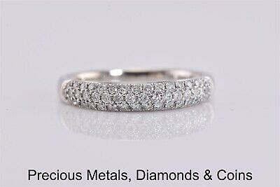 14k White Gold 4mm 1 TCW SI1 H 51 Diamond Cluster Pave Band Ring Sz: 7.75