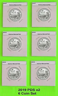 2019 PDS x2 (6 coins) American Memorial Park  America the Beautiful(ATB)