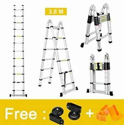 Finether 12.5 FT Aluminum Telescopic Extension Ladder, Portable Heavy Duty