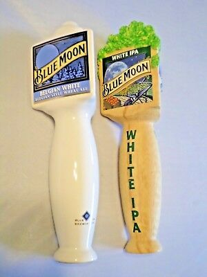 Beer Keg Tap Handle Lot of 2 Diff Blue Moon Belgian White Ale & IPA 10 & 11""