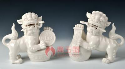"5"" China Dehua White Porcelain Wealth Money Foo Fu Dog Guardion Lion Statue Pair"
