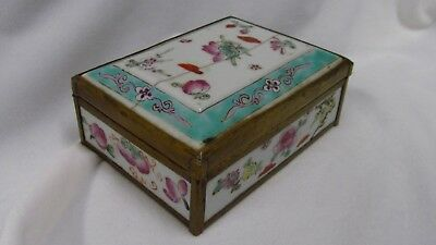 19th Century Famille Rose Porcelain & Brass Trinket Box   Lot #2695