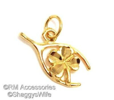 Wishbone & Four Leaf Clover Charm Good Lucky Pendant EP Gold Plated Guaranteed