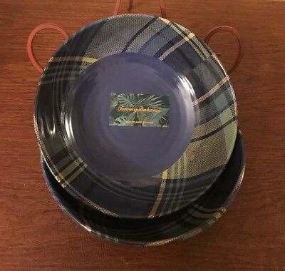 (2) Pc Tommy Bahama Bowls Melamine Soup Set Plaid Tartan Christmas Green Blue
