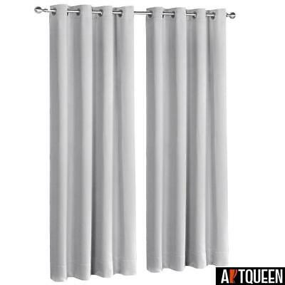 Art Queen 2x Grey Blockout Curtains Eyelet 3 Pass Blackout Room 240 x 230cm