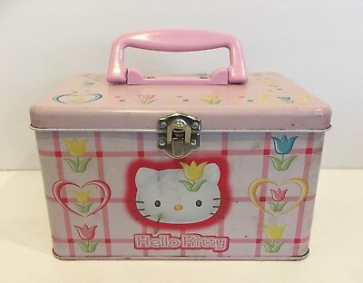 VTG Hello Kitty Pink Tin Box For Trinkets Pencils Sanrio 1999
